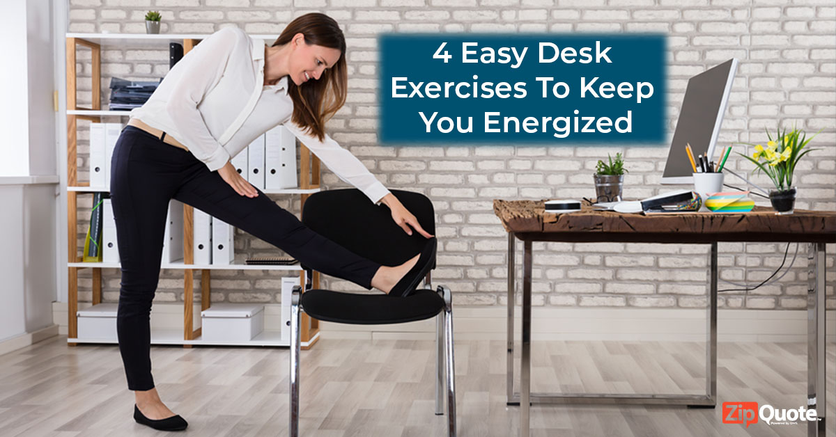 woman doing exercises at her desk working in insurance sales ZipQuote