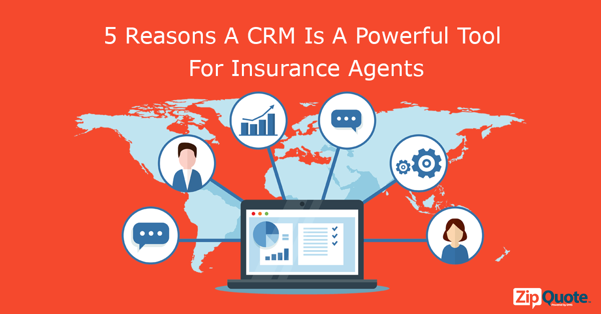 people, text, boxes, and data show that CRM is a powerful tool for insurance agents
