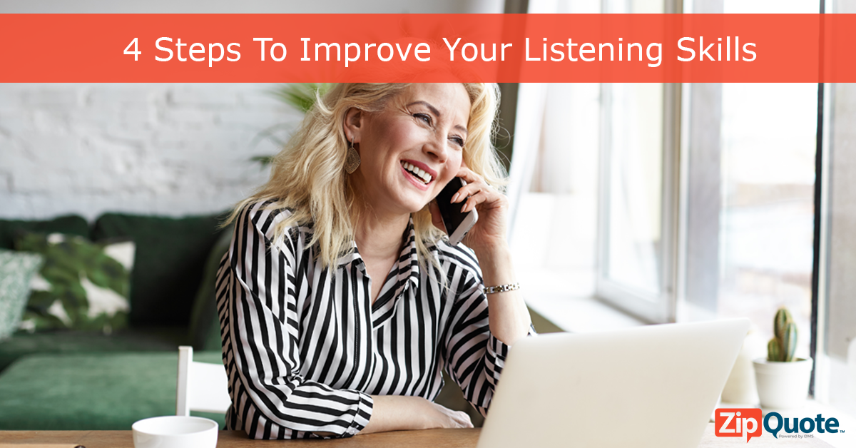 Improve your listening with these ZipQuote tips woman on the phone